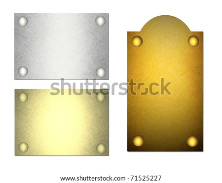blank gold and silver name tags or plates illustration