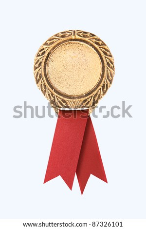 blank gold award ribbons on white(path in side)