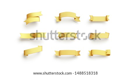 Blank gold banderole mock up set, isolated, 3d rendering. Empty vintage ornament mockup, different types. Clear yellow heading for fest or christmas celebration template.