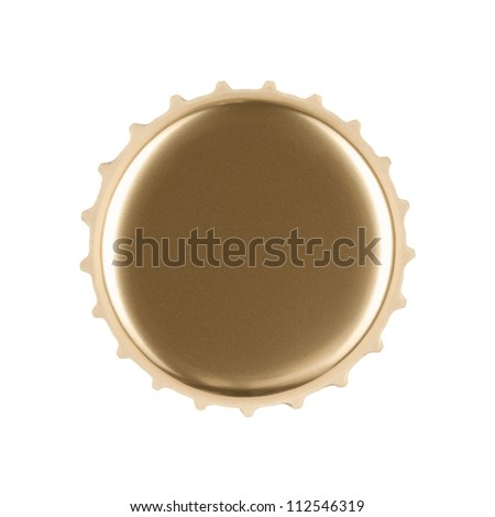 Blank gold bottle cap isolated on white background with clipping path