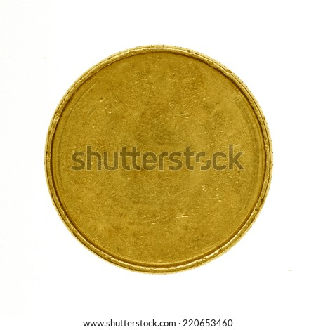 Blank gold coin isolated on white