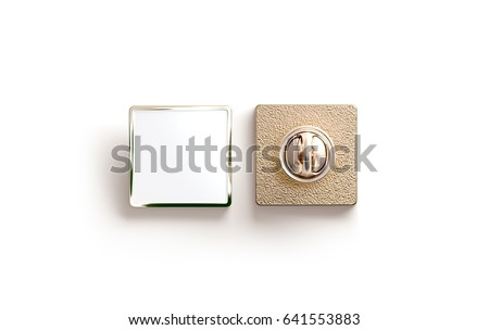 Blank gold enamel pin mock up, front and back side view, 3d rendering. Empty luxury hard lapel badge mockup. Golden clasp-pin design template. Matal square brooch for logo presentation. ストックフォト ©