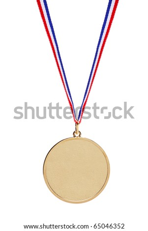 Blank gold medal with tricolor ribbon isolated on white background