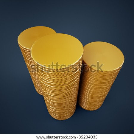 Blank golden coins stack - stock photo