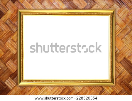 blank golden frame on bamboo texture background