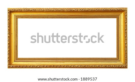 Blank Golden Picture Frame (with clipping path for easy background removing)