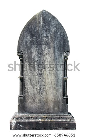 Blank gravestone isolated on white ready for inscription - Shutterstock ID 658946851