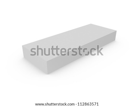 Blank gray box template, isolated on white.