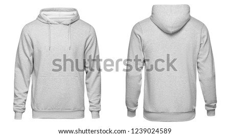 Blank gray mens hoodie sweatshirt long sleeve with clipping path, mens hoody with hood for your design mockup for print, isolated on white background. Template sport winter clothes. #1239024589