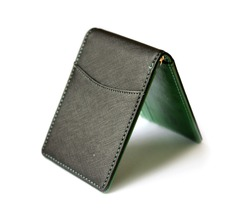 Blank green and black wallet isolated on white background . Open wallet .