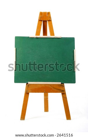 blank green chalk board on easel
