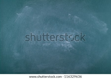 Blank green chalkboard (blackboard) with high detailed texture of dust after cleaning.