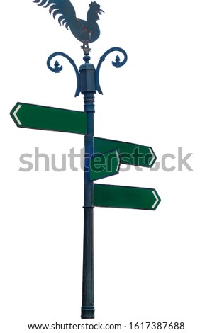 Blank green direction signpost have blue metal pole and chicken plate on top with 4 arrows (add your text) pointing in various directions isolated on white