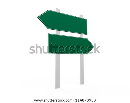 Blank, green left and right arrow road sign template, isolated on white background.