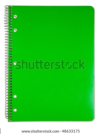 Blank green notebook cover. used condition.
