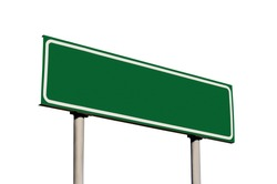 Blank Green Road Name Sign Isolated, Large Detailed Roadside Signage Copy Space Background