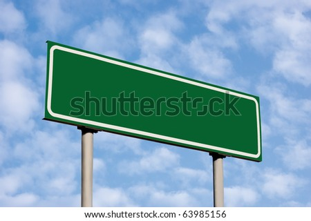 Blank Green Road Sign, Against Light Cloudscape, Summer Sky And Clouds