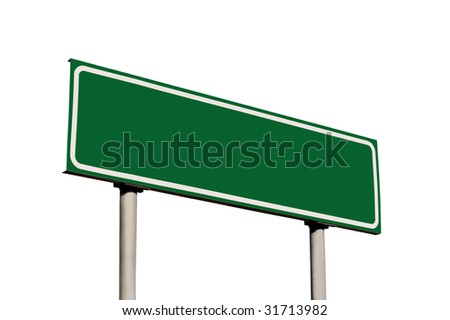 Blank Green Road Sign Isolated