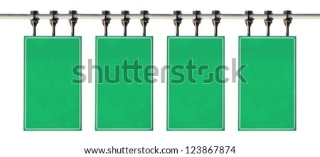 Blank green road sign. Isolated on white background.