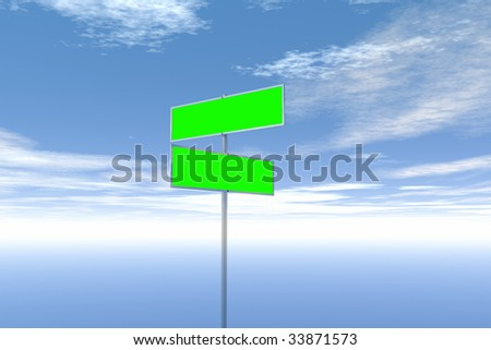 Blank green signs with sky background