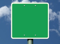 blank green square traffic & road sign raster image with aluminum pole detail. fastening bolts. backdrop and background for graphic design. narrow white border. blue sky with clouds. illustration base