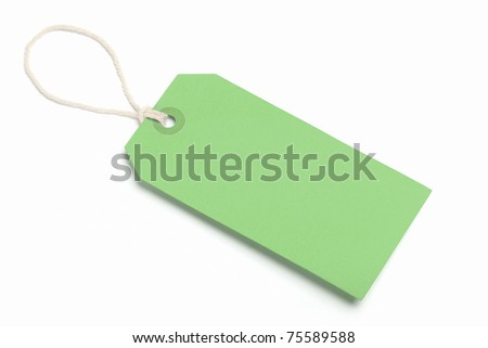 Blank Green Tag, Isolated On White.