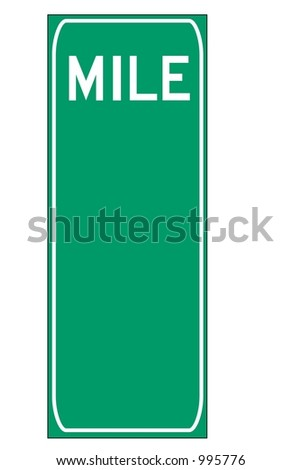 Blank Green triple digit mileage sign isolated on a white background - stock photo