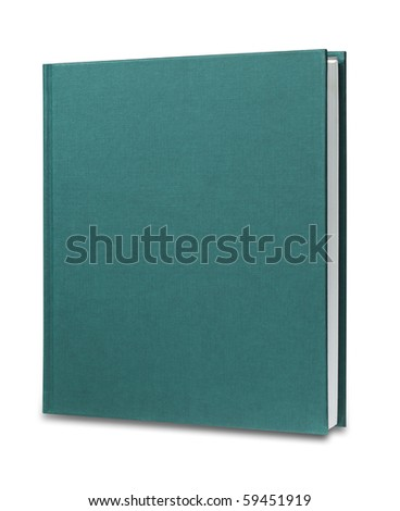 Blank green upright book isolated with shadow and clipping path