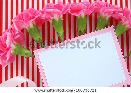 Blank greeting card and pink carnation