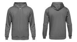 Blank grey male hoodie sweatshirt long sleeve with clipping path, mens hoody with zipped for your design mockup for print, isolated on white background. Template sport winter clothes.