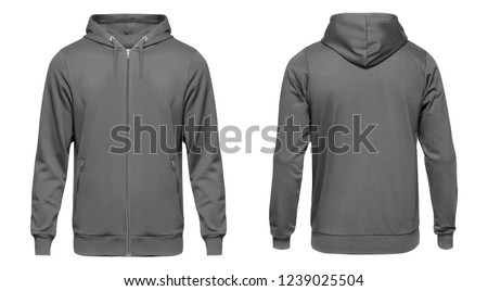 Blank grey male hoodie sweatshirt long sleeve with clipping path, mens hoody with zipped for your design mockup for print, isolated on white background. Template sport winter clothes. #1239025504