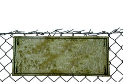 Blank Grungey old sign on a chainlink fence, isolated on white.