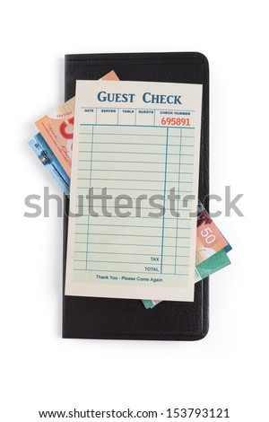Blank Guest Check and dollar, concept of restaurant expense.