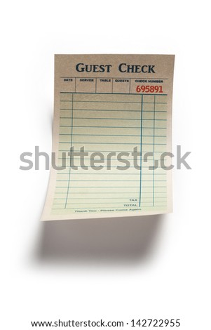 Blank Guest Check, concept of restaurant expense. Fake Guest Check,