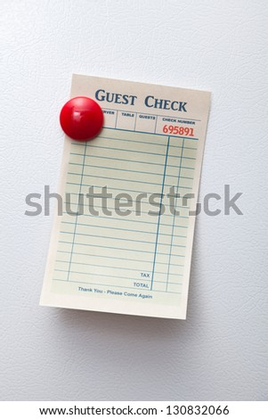 Blank Guest Check, concept of restaurant order.