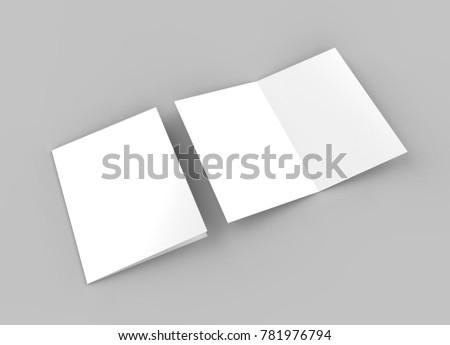 Blank half-fold brochure, 3d illustration.