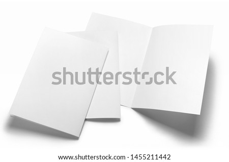 Blank half-folded booklet, postcard, flyer or brochure mockup template, isolated on white background #1455211442