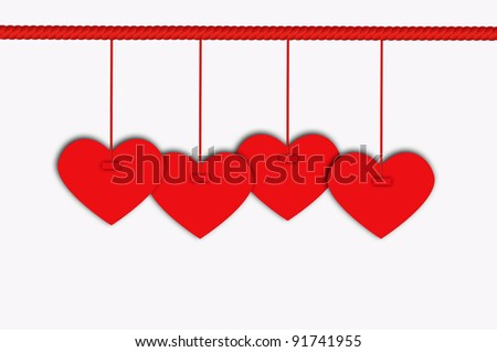 Blank Hanging Heart Label with Red Rope
