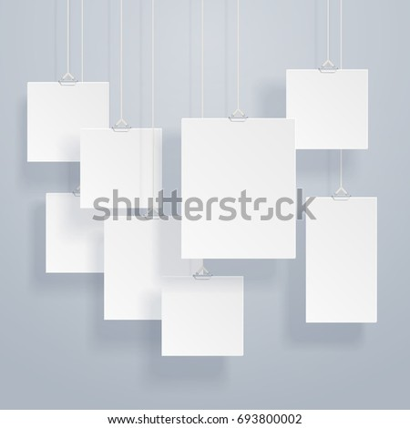 Blank hanging photo frames or poster templates with drop shadows on wall set. Exhibition with photography frame border, illustration of presentation hanging portfolio photography