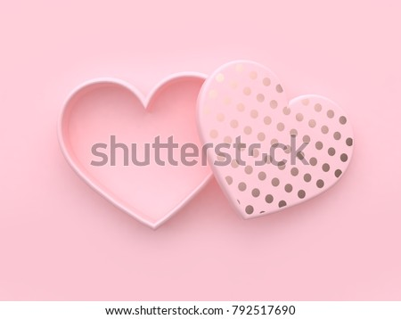 blank heart box open pink background valentine concept 3d rendering