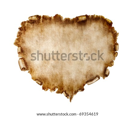 Blank heart-shaped vintage piece of parchment. Valentines Day Card love letter background isolated on white.