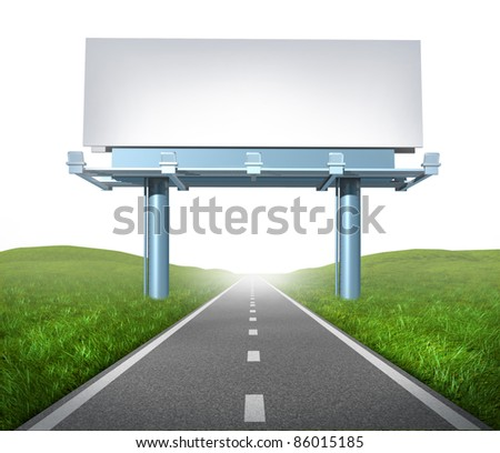 Blank highway billboard sign and display on a road representing the concept of focused advertising and marketing communications to clients for promotion and sell a brand on white background.