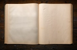 Blank Historic Old Book on Wooden Table