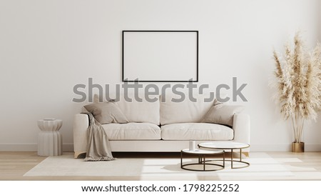 Blank horizontal poster frame mock up in  scandinavian style living room interior, modern living room interior background, beige sofa and pampas grass, 3d rendering