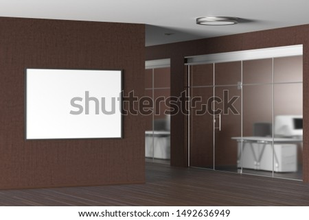 Blank horizontal poster on the brown wall in modern office. 3d illustration #1492636949