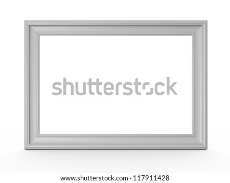 Blank horizontal wooden photo frame, isolated on white background.