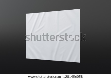 Blank horizontal wrinkled street poster on black wall. With clipping path around poster. 3d illustration #1281456058