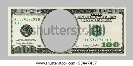 blank hundred dollars bank note CLIPPING PATCH included
