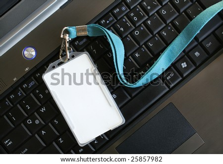 Blank ID card / badge on laptop /notebook