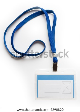 Blank ID card / badge with copy space  on a white background